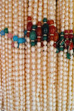 Pearl necklaces. The close-up of pearl necklaces stock image