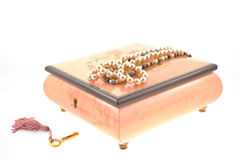 Pearl necklaces on encrusted box Royalty Free Stock Images