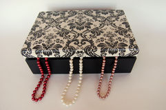 Pearl necklaces jewelry box Stock Images