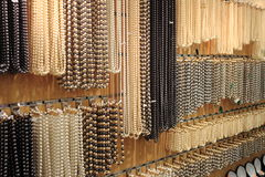 Pearl necklaces. For sale in a jewelery shop Stock Images