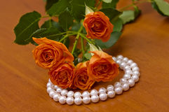 Pearl neclace and red roses. Elegant pearl necklace and beautiful roses stock photo