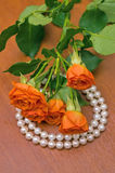 Pearl neclace and red roses Royalty Free Stock Photos
