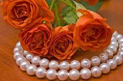 Pearl neclace and red roses Stock Image