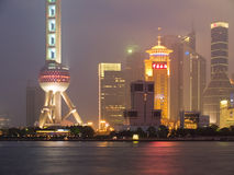 Pearl of Orient. Shanghai view over Pudong area from the Bund by night Royalty Free Stock Images