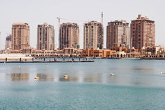 The Pearl Project. Hihg rise accommodation going up in Doha, Qatar royalty free stock image