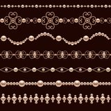 Pearl Realistic Borders. Classic jewelry pearl accessory decorative realistic borders set isolated vector illustration Royalty Free Stock Photography