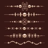 Pearl realistic dividers Stock Photos