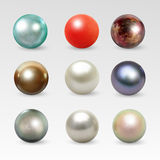 Pearl realistic isolated on white background. Pearl realistic set isolated on white background. Spherical beautiful 3D orb with transparent glares and highlights Royalty Free Stock Photography