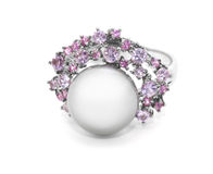 Pearl ring with colored stones Stock Photos