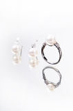 Pearl ring and earring Royalty Free Stock Images