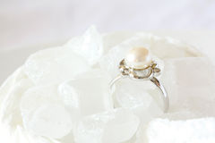 Pearl Ring Jewel in Crystal Sugar Royalty Free Stock Photo