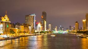 The pearl river and the bridges at night Royalty Free Stock Images