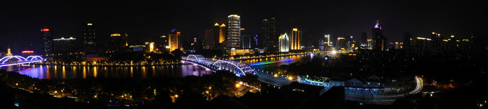 Pearl River,Haizhu Bridge Panoramic(Big picture) Royalty Free Stock Image