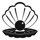 Pearl in a sea shell icon, simple style Stock Photo