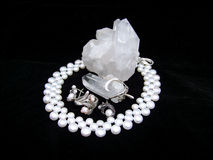 Pearl Set And Quartz Royalty Free Stock Images