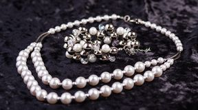 Pearl set jewelry Stock Photos