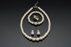 Pearl set with seasell Stock Photo