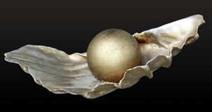 Pearl on shell. Metallic yellow pearl on metal shell fragment royalty free stock image