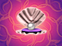 Pearl in shell on floral background Royalty Free Stock Photography