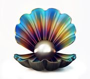 Pearl shell. Isolated on a white. 3d illustration Stock Images