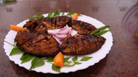 Pearl Spot Fish Fry Karimeen Fry Kerala style fish fry christmas new year recipe stock images
