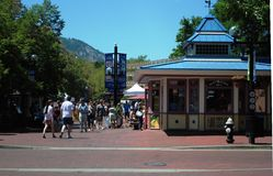 Pearl Street - Boulder, Colorado. A view of downtown Boulder, Colorado. Pearl Street is a pedestrian mall lined with art boutiques and small cafes. It's a very Royalty Free Stock Photo