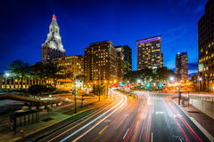 Pearl Street and modern buildings at night in downtown Hartford,. Connecticut Stock Photo