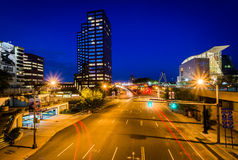 Pearl Street and modern buildings at night in downtown Hartford, Stock Photography