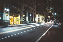 Pearl Street at Post Office Square at night, in Boston, Massachu Stock Photo