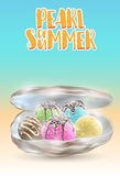Pearl of summer many ice cream ball in a sea shell vector illustration