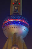 Pearl t.v tower. The oriental pearl t.v tower in Shanghai China at night royalty free stock photos