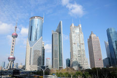 Pearl tower shanghai and lujiazui skyline Royalty Free Stock Image