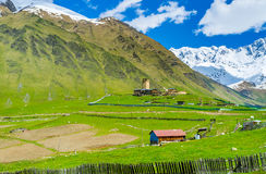 The pearl of Ushguli. The Lamaria Church is the medieval painted Byzantine church, located in the highest European settlement of Ushguli, Upper Svaneti, Georgia Royalty Free Stock Image