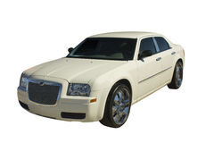 Pearl white 4 door luxury sedan Stock Photos