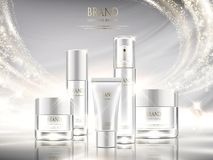 Pearl white skincare ads. Cosmetic package design set with glittering light effect in 3d illustration Royalty Free Stock Image