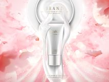 Pearl white skincare ads. Cosmetic package tube design with glittering light effect isolated on pink petals background in 3d illustration Stock Photography