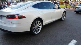 Pearl white Tesla model S stock video footage