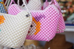 Pearl woven bag Royalty Free Stock Images