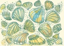 Pearlescent different seashells. Marine, blue, sunny, varied in shape. Painted with watercolors royalty free stock photos