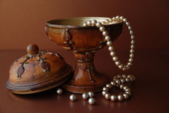 Pearls. In a jewelry box Stock Images