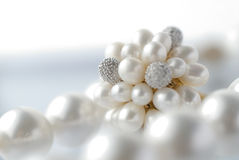 Pearls. And white gold with copy space Stock Photo
