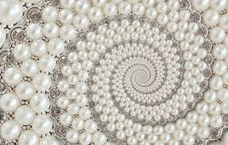 Free Pearls And Diamonds Jewels Abstract Spiral Background Pattern Fractal. Pearls Background, Repetitive Pattern. Abstract Pearl Backg Stock Image - 109557641