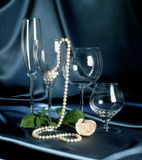 Pearls on Black Satin Stock Image