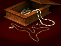 Pearls brilliants ring. Casket of an ornament pearls brilliants ring chain beads Stock Image