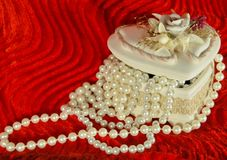 Pearls in a casket Stock Images