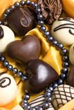 Pearls and Chocolate. A perfect Valentine gift... Pearls and chocolates Royalty Free Stock Photos