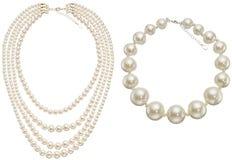 Pearls Circle & Necklace Stock Photos