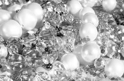 Pearls and crystal jewelry stock photos