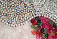 Different beads on the background royalty free stock photo