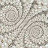 Pearls and diamonds jewels abstract spiral background pattern fractal. Pearls background, repetitive pattern. Abstract pearl backg. Round spiral pattern royalty free stock image